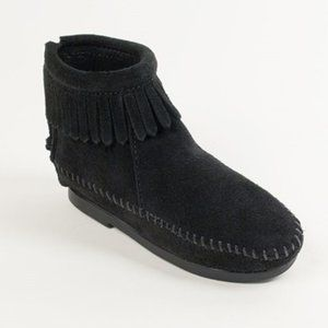 Minnetonka Black Suede Double Fringe Ankle Boots